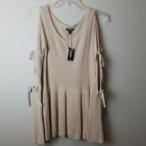 Express NEW babydoll cold shoulder tie  sweater